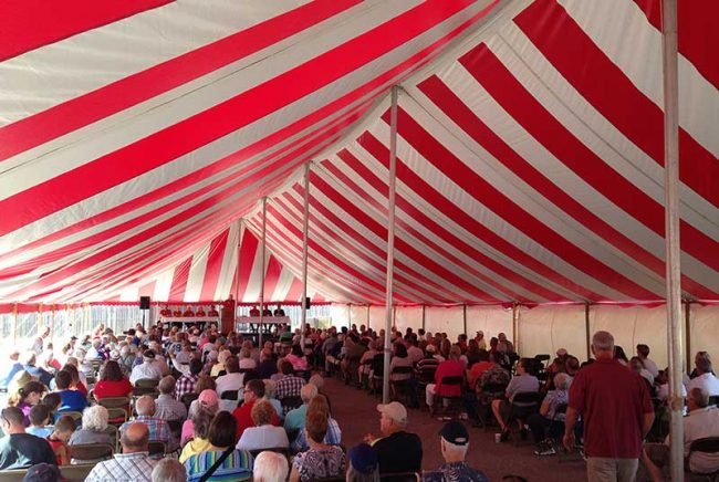 people in large tent