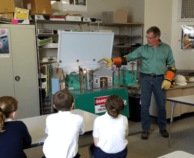 man demonstrating electrical safety to children