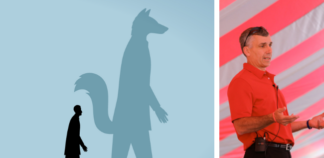 man with a fox shadow and tony anderson